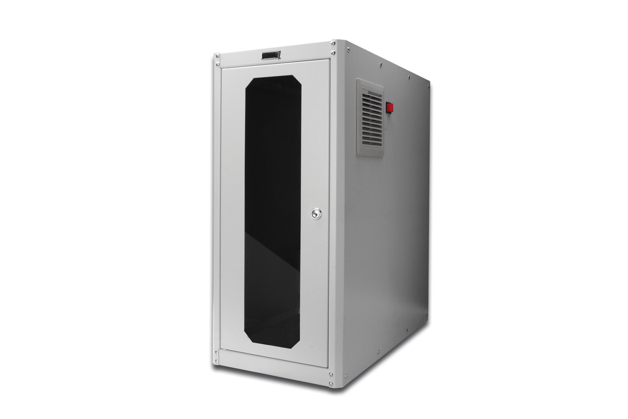 DIGITUS Professional® PC-Schrank mit aktiver Lüftung 402x600x450mm ...